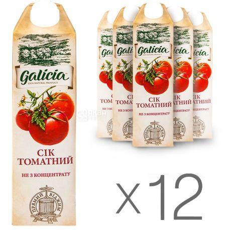 Galicia, Томатний, Упаковка 12 шт. по 1 л, Галіція, Сік натуральний, прямого віджиму