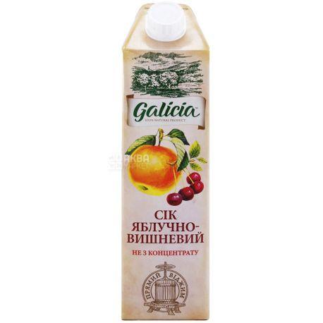 Galicia, Яблочно-вишнёвый, Упаковка 12 шт. по 1 л,  Галиция, Cок натуральный, без добавления сахара