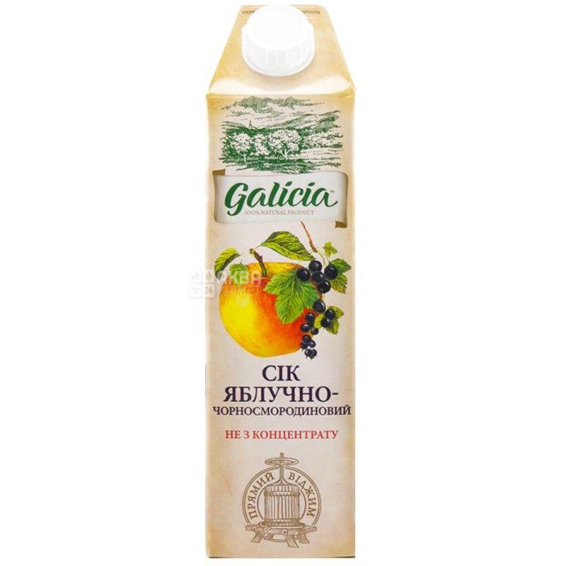 Galicia, Яблочно-черносмородиновый, Упаковка 12 шт. по 1 л, Галиция, Сок натуральный, без добавления сахара