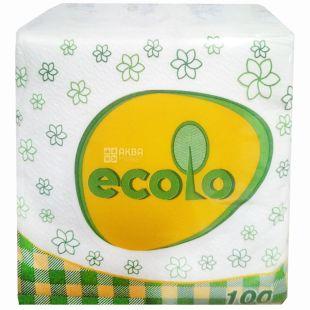Ecolo, 100 шт., Серветки столові Еколо, одношарові, 24х24 см, білі