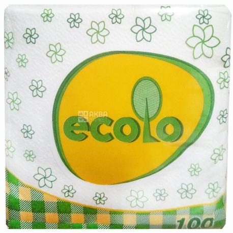 Ecolo, 100 шт., Салфетки столовые Эколо, однослойные, 24х24 см, белые