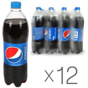 Pepsi-Cola, Упаковка 12 шт. по 1 л, Пепси-Кола, Классическая, Вода сладкая, ПЭТ