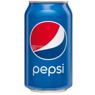 Pepsi-Cola, Упаковка 24 шт. по 0,33 л, Пепси-Кола, Классическая, Вода сладкая, ж/б