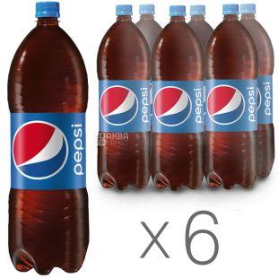 Pepsi-Cola, Упаковка 6 шт. по 2 л, Пепси-Кола, Классическая, Вода сладкая, ПЭТ