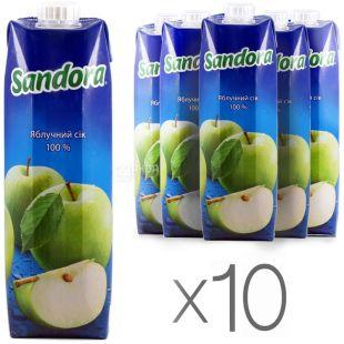 Sandora, Яблочный, 0,95 л, Сандора, Сок натуральный, неосветленный, упаковка 10 шт.