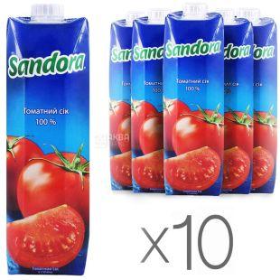 Sandora, Томатный, 0,95 л, Сандора, Сок натуральный, с солью, Упаковка 10 шт.