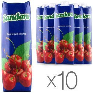Sandora, Вишневый, Упаковка 10 шт. по 0,95 л, Сандора, Нектар натуральный