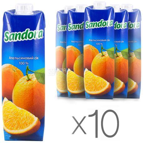 Sandora, Апельсиновый, 0,95 л, Сандора, Сок натуральный,  упаковка 10 шт.