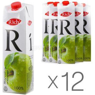 Rich, Яблучний, 1 л, Річ, Сік освітлений, Упаковка 12 шт.