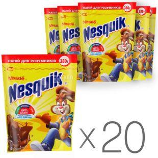 Nesquik, Opti-Start, 380 г, Несквик, Опти-Старт, какао-напій, швидкорозчинний, Упаковка 20 шт.