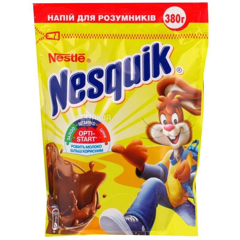 Nesquik, Opti-Start, 380 г, Несквик, Опти-Старт, какао-напиток, быстрорастворимый, Упаковка 20 шт.