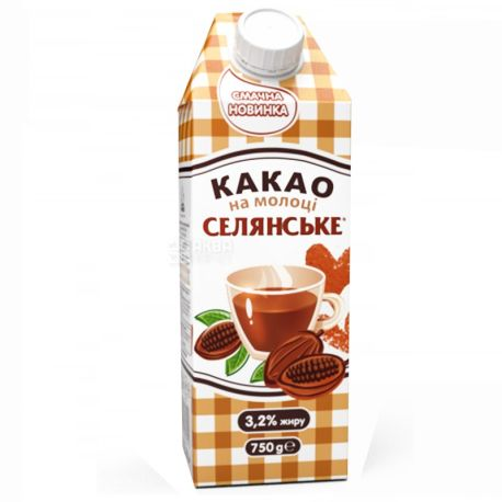 Селянське, 750 г, 2,6 %, какао на молоке, Ультрапастеризованное