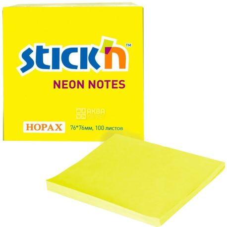 Hopax, 100 шт., 76х76 мм, папір, З липким шаром, Жовтий