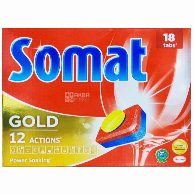 Somat, 18 шт., таблетки для посудомоечной машины, Gold, м/у