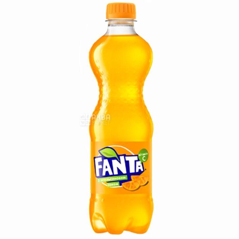 Fanta, Апельсин, 1,5 л, Фанта, Вода сладкая, с натуральным соком, ПЭТ