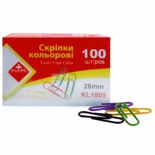 Klerk, 100 шт., 28 мм, скріпки канцелярські, Кольорові