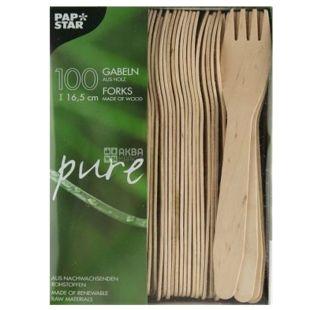 PapStar, 100 шт., 16,5 см, вилка деревянная