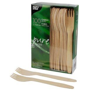 PapStar, 100 pieces, 16,5 cm, wooden fork