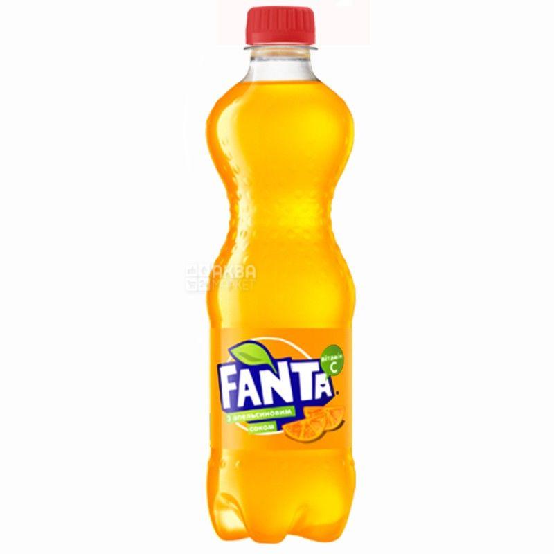 Fanta, Апельсин, 0,5 л, Фанта, Вода солодка, з натуральним соком, ПЕТ