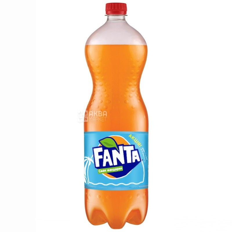 Fanta, Мандарин, 1,5 л, Фанта, Вода солодка, з натуральним соком, ПЕТ