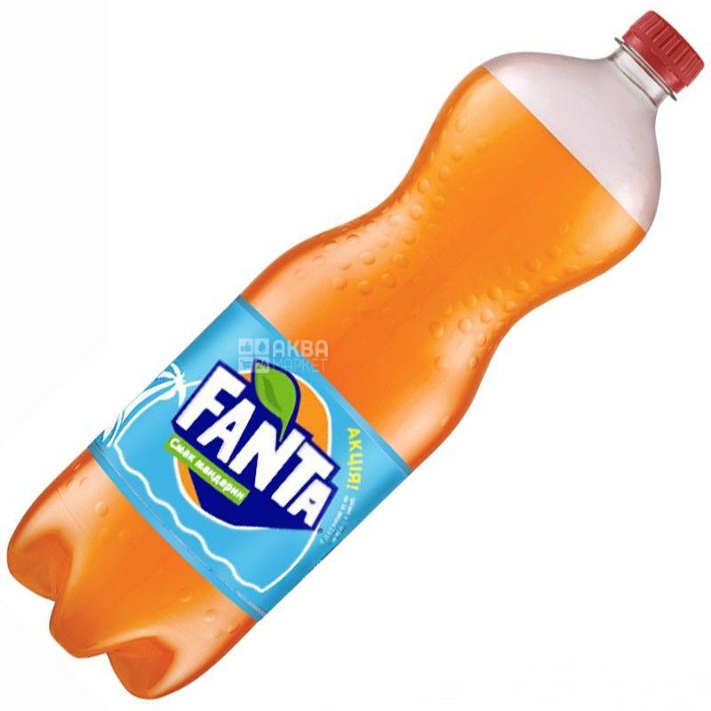 Fanta, Мандарин, 1,5 л, Фанта, Вода сладкая, с натуральным соком, ПЭТ