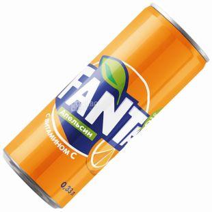 Fanta, Апельсин, 0,33 л, Фанта, Вода солодка, з натуральним соком, ж/б