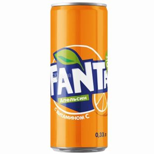 Fanta, 0,33 л, солодка вода, З апельсиновим соком, ж/б