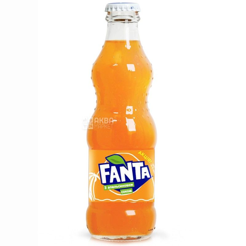Fanta, Апельсин, 0,25 л, Фанта, Вода сладкая, с натуральным соком, стекло