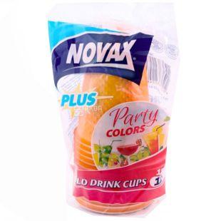 Novax Plus, 12 шт., 180 мл, стакани пластикові, Party Colors