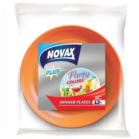 Novax Plus, 12 шт., 20,5 см, тарелки пластиковые, Столовые, Party Colors