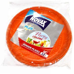Novax Plus, 12 pcs., 20.5 cm, plastic plates, Cutlery, Party Colors