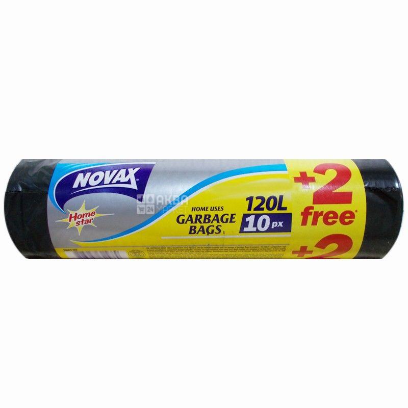 Novax, 10+2 шт., 120 л, пакеты для мусора, Home Star