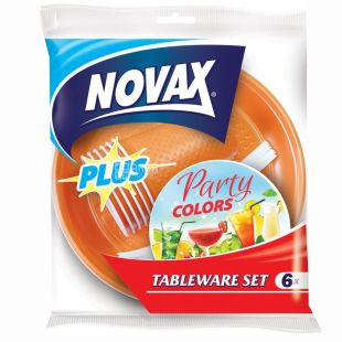 Novax Plus, disposable tableware set, For 6 persons, Party Colors