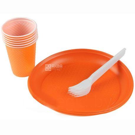 Novax Plus, Набор одноразовой посуды Party Colors, На 6 персон