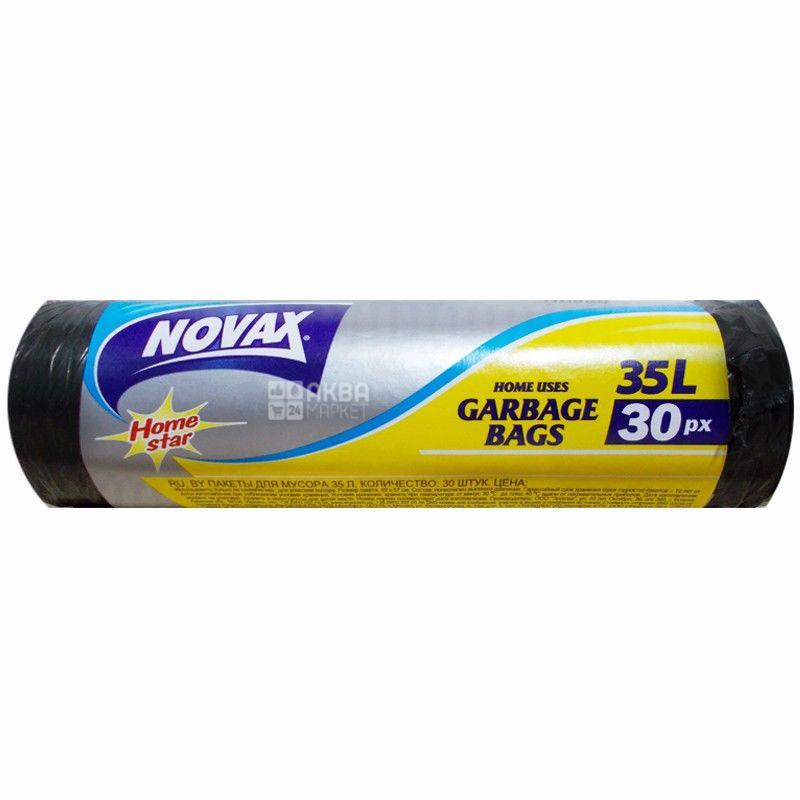 Novax Plus, 30 шт., 35 л, Пакети для сміття Новакс Плюс, без затягувань, суперміцні, чорні