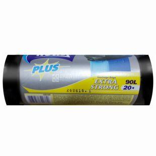 Novax Plus, 20 шт., 90 л, Пакеты для мусора Новакс Плюс, без затяжек, суперпрочные, черные