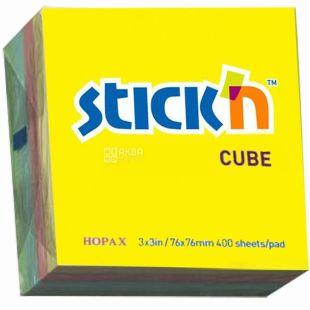 Klerk, 76х76 мм, блок бумаги, С липким слоем, Радуга