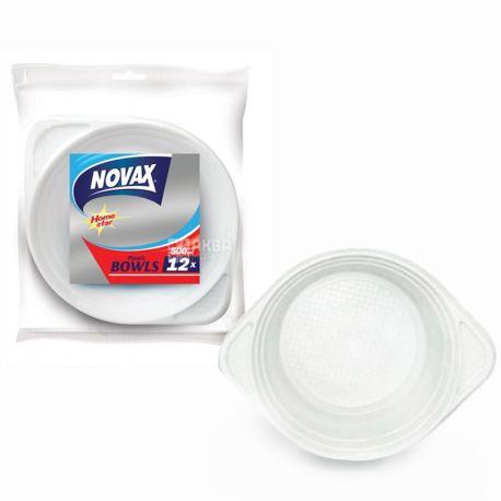 Novax, Тарілки пластикові глибокі 500 мл Ø 19 см, 12 шт.