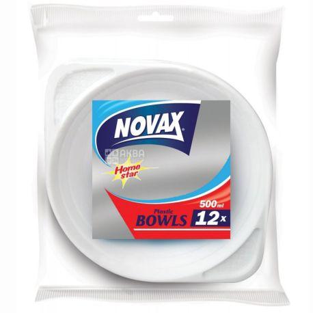 Novax, Тарелки пластиковые глубокие 500 мл Ø 19 см, 12 шт.