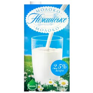 Нежинское, упаковка 12 шт. по 1 л, 2,5%, молоко, Ультрапастеризованное