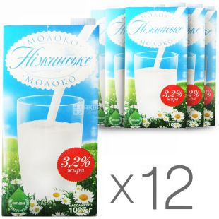 Nezhinskoe, Packing 12 pcs. on 1 l, 3,2%, Milk, Ultrapasteurized