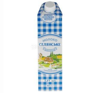Peasant, Packing 12 pcs. 950 g, 2.5%, Milk, Special, Ultra-Pasteurized