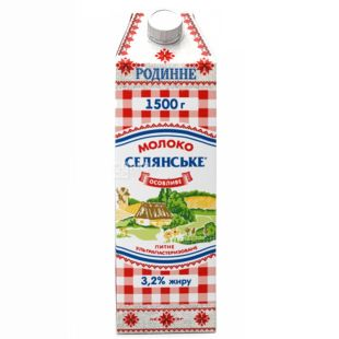Peasant, Packing 8 pcs. 1.5 liters, 3.2%, Milk, Special, Family, Ultrapasteurized