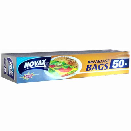 Novax, 50 шт., пакеты-слайдеры, Для бутербродов, С клипсами, Home Star