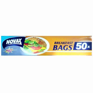 Novax, 50 шт., пакети-слайдери, Для бутербродів, З кліпсами, Home Star