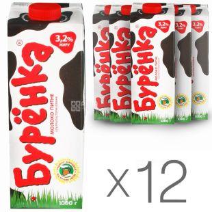 Буренка, Упаковка 12 шт. по 1 л, 3,2%, Молоко, Ультрапастеризоване