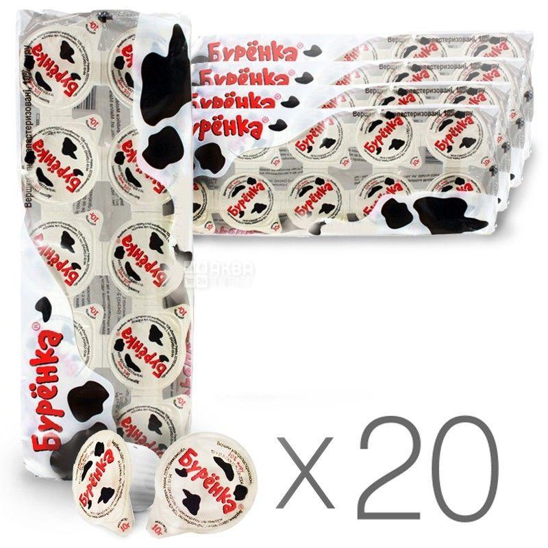 Буренка, 10 шт. х 10 мл, упаковка 20 шт., Сливки порционные жидкие ультрапастеризованные, 10%