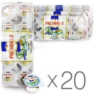 President, упаковка 20 шт. по 10 г, 10%, вершки порційні ( 200 порцій)