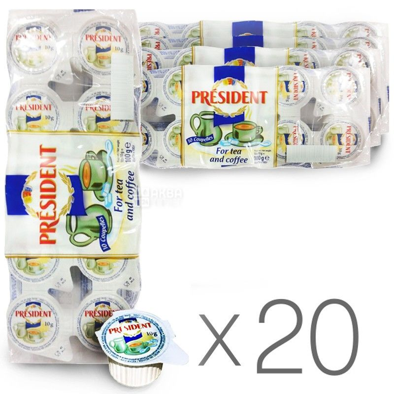 President cream portioned 10%, pack of 20 packs of 10 pieces (200 servings)
