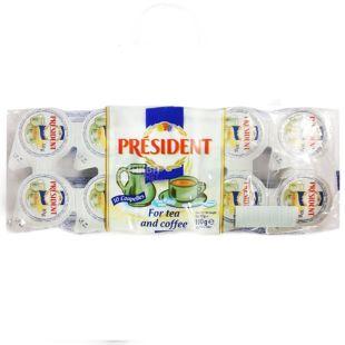 President, упаковка 20 пачек по 10 штук (200 порций), Сливки Президент, порционные, 10%